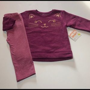 2/$20 NWT Purple Kitty Cat Outfit size 12 months